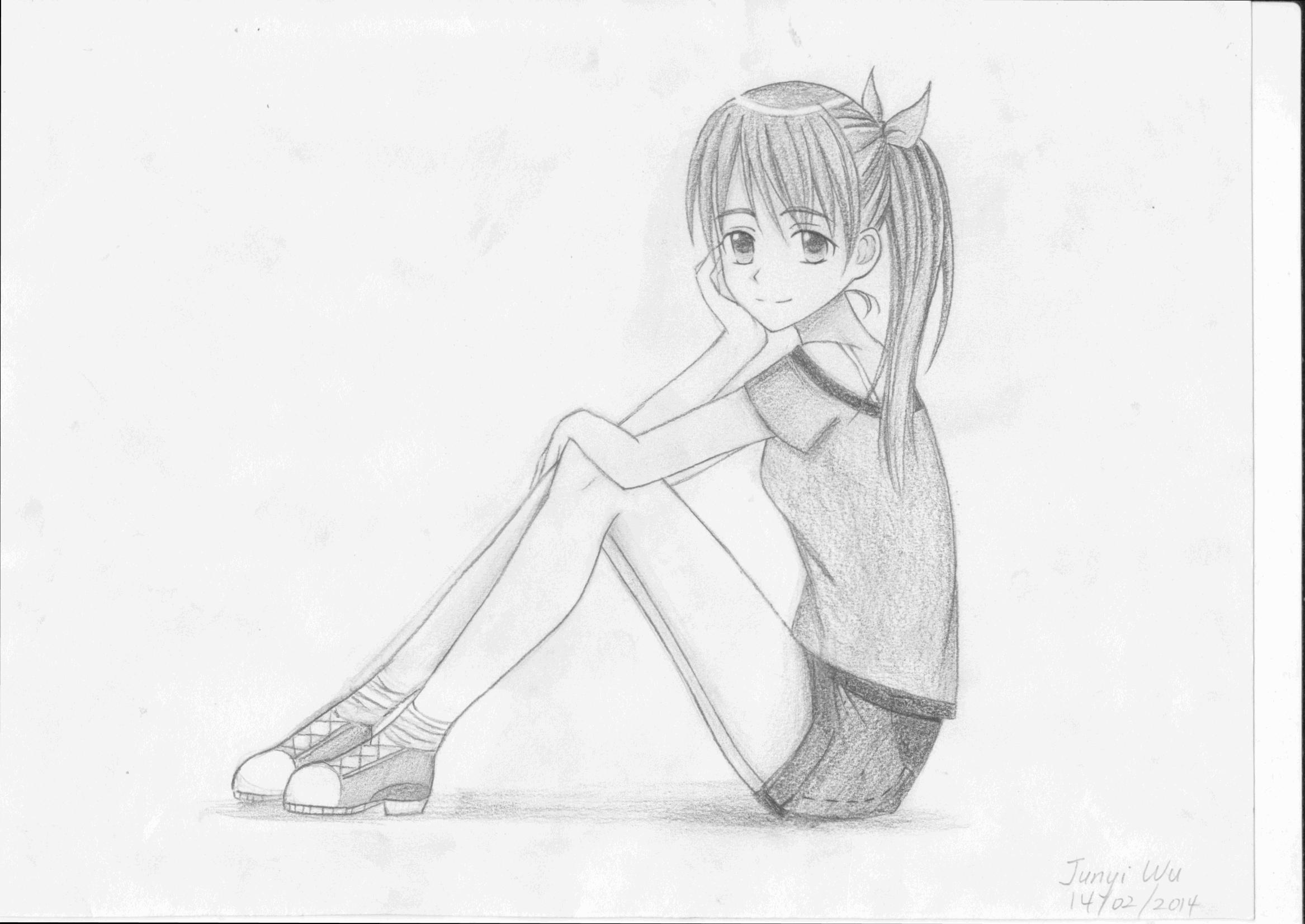 Manga girl sitting pose by anime lover12345 on deviantart