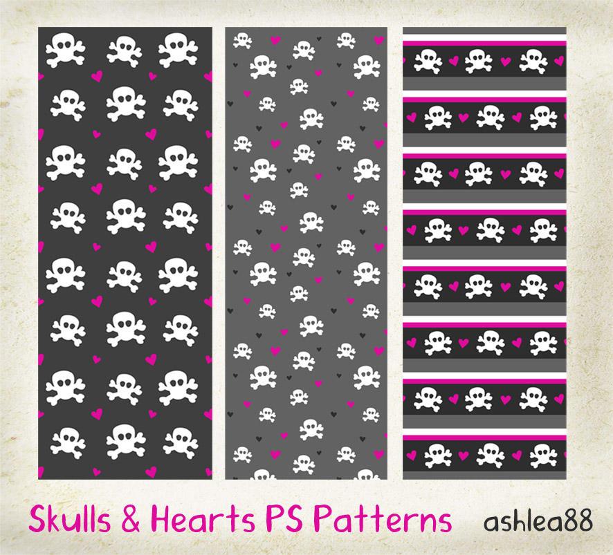 مكتبة الباترن 2013 ( اكبر تجميعه لملفات البآترن ) 2013 Skulls_and_Hearts_PS_patterns_by_ashzstock