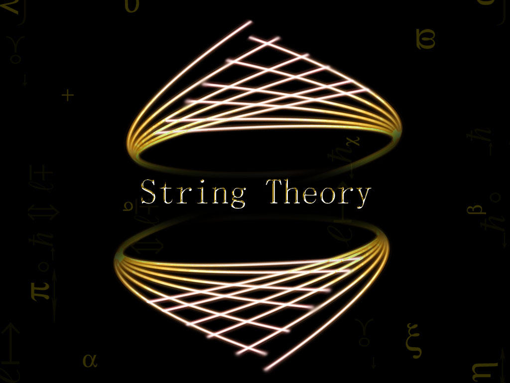 string theory In string theory, each quantum particle is replaced by a 1d string of vibrating energy whose length is the planck length as the string moves, it traces width, and thus becomes 2d, a worldsheet as the string moves, it traces width, and thus becomes 2d, a worldsheet.
