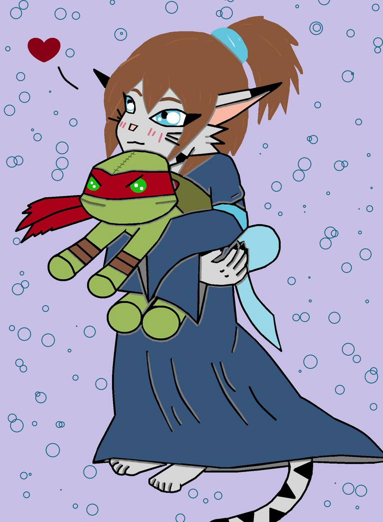 Aelita (Kitty) TMNT OC and Plushie Raph by animedugan