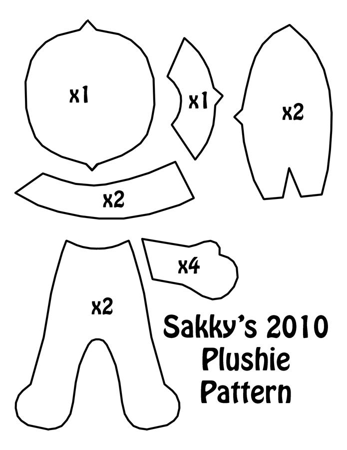 2010 plushie pattern by sakkysa on deviantart for Felt plushie templates