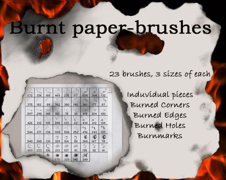 Burnt paper-brushes by chain