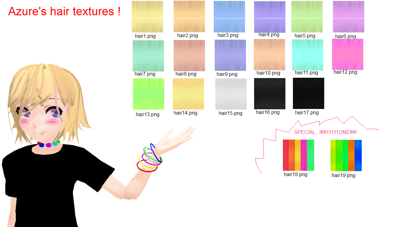 Hair Textures for MMD! by GoogleTranslate-Chan