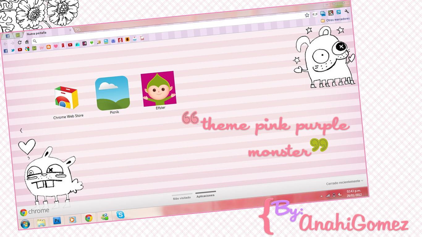 Google chrome themes zebra - Sriitadewatt 9 0 Tema Pink Purple Monster Para Google Chrome