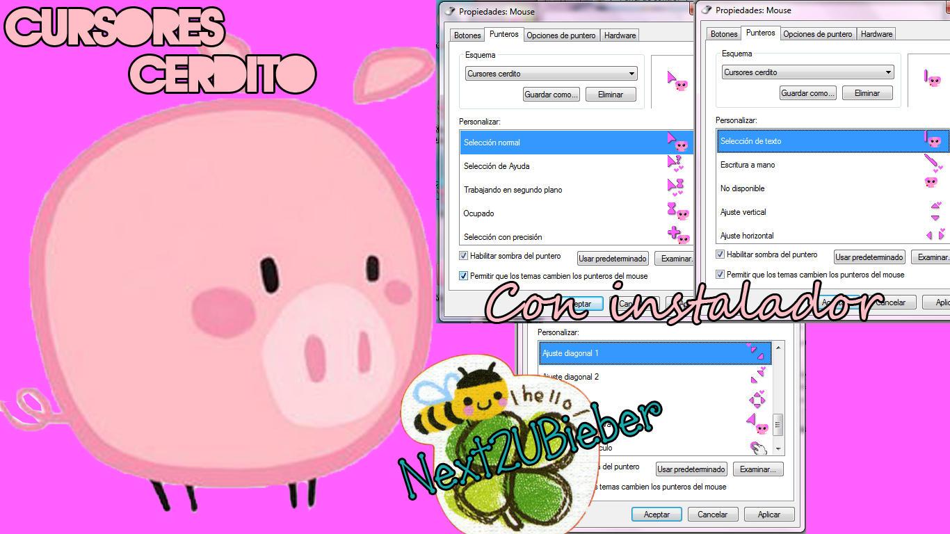 Cursores Cerdito (Pig cursors) by Next2UBieber