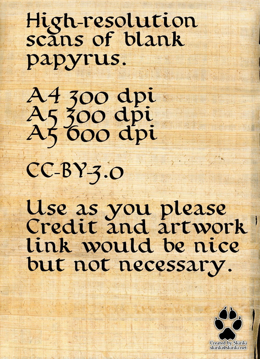Stock (CC-BY 3.0): Papyrus by Skiriki