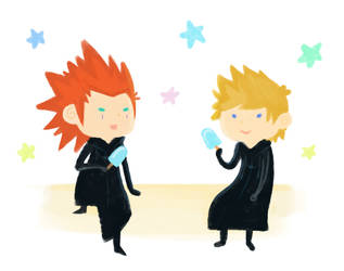 Axel and Roxas by Air-Pirate-Bunny