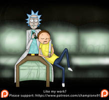 Rick and Morty - sleepy in front of the tv by Championx91