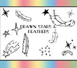 Drawn Stars And Feathers Brush