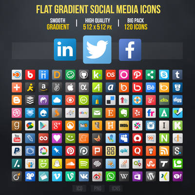 Flat Gradient Social Media Icons