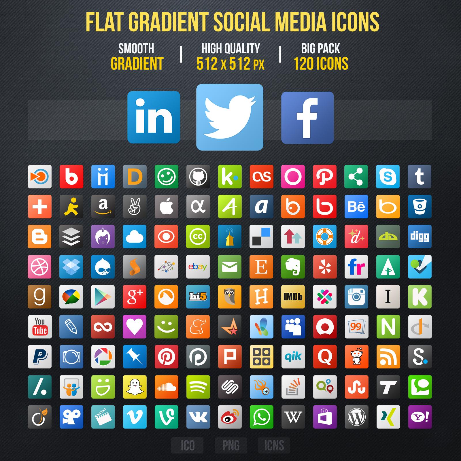 Flat Gradient Social Media Icons by limav