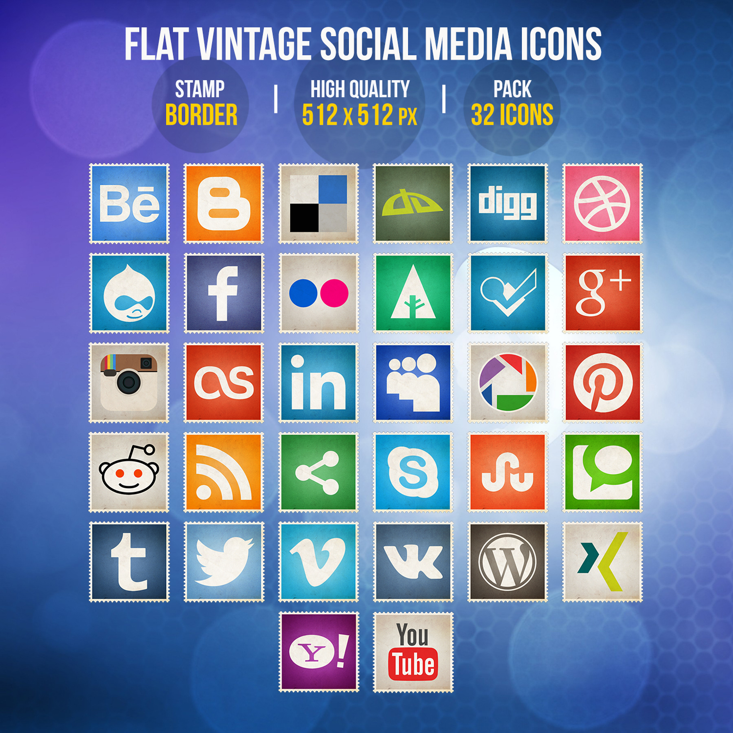 Flat Vintage Social Media Icons by limav