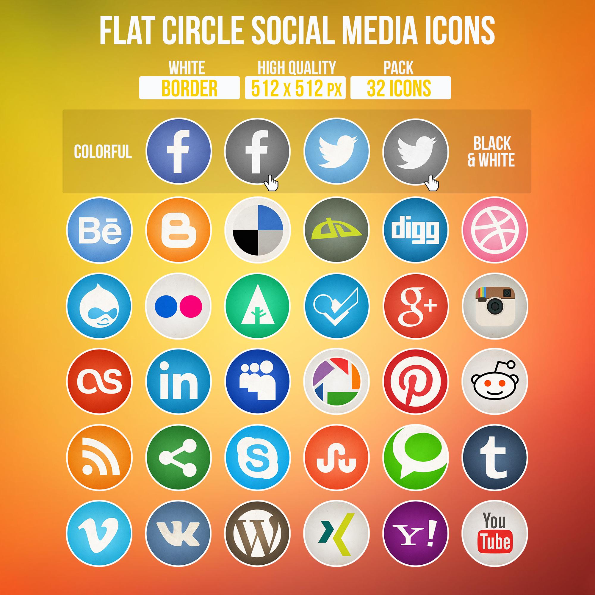 Flat Circle Social Media Icons