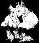 wolf family line art F2U