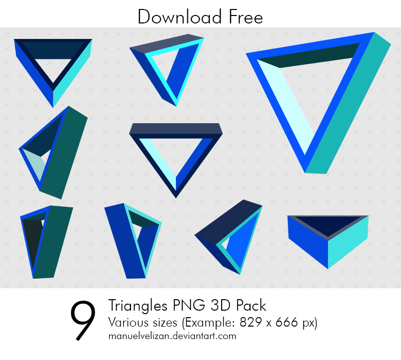 Triangles PNG 3D Pack by manuelvelizan