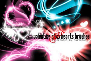 Valentine Glow Hearts by hawksmont