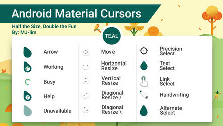 Android Material Cursors (Teal) - Half the Size by Behroozdiablo