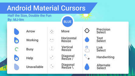 Android Material Cursors (Blue) - Half the Size by Behroozdiablo
