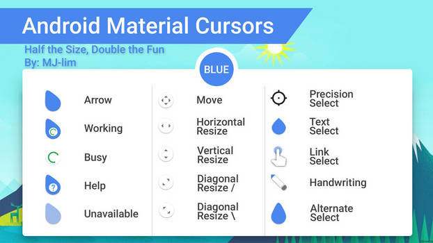 Android Material Cursors (Blue) - Half the Size
