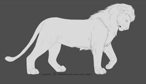 Lion male lineart
