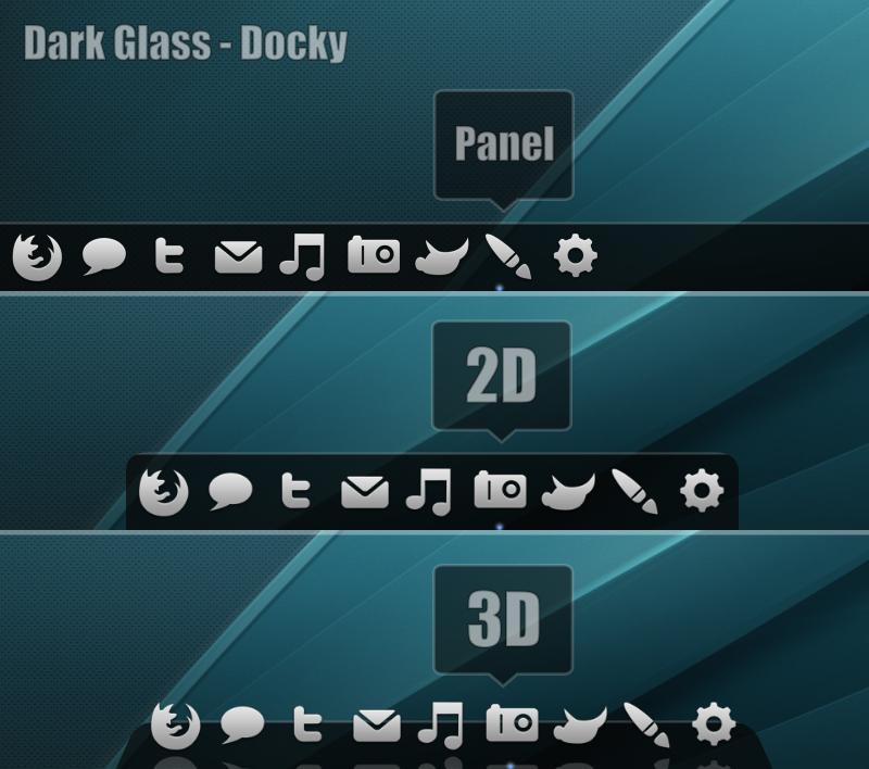Dark Glass Docky Theme