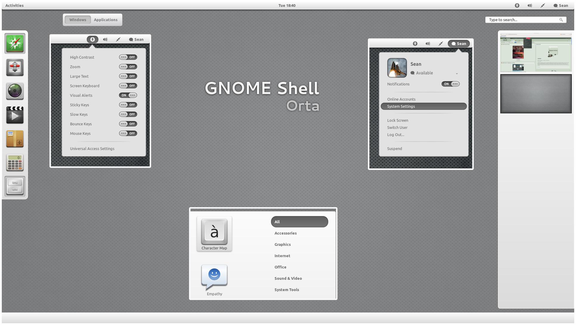 GNOME Shell - Orta