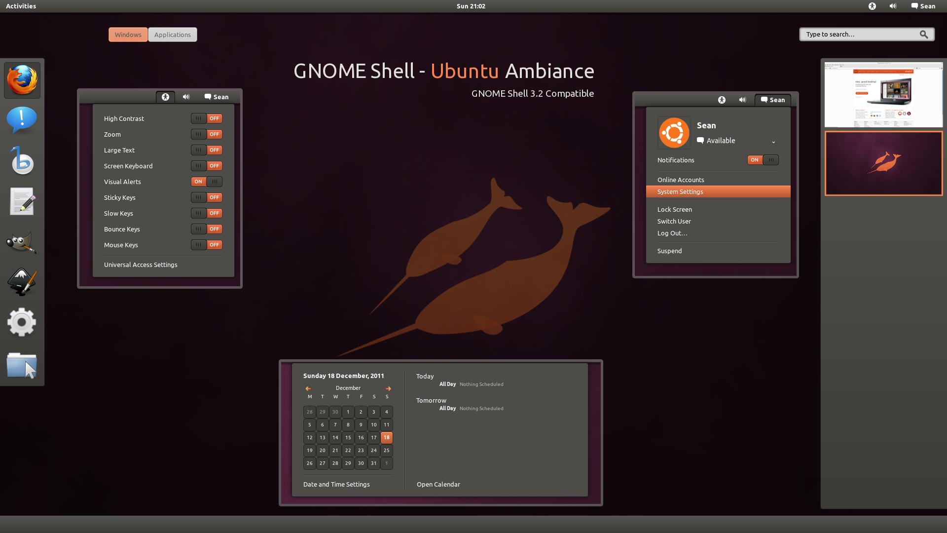 GNOME Shell - Ubuntu Ambiance