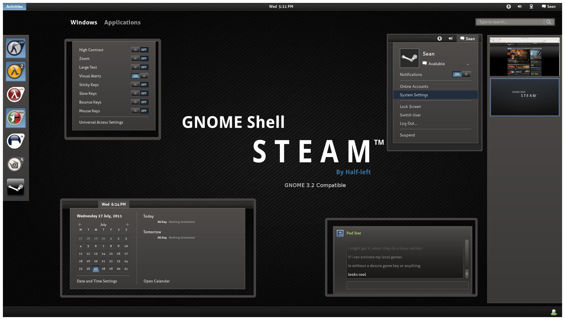 GNOME Shell - Steam