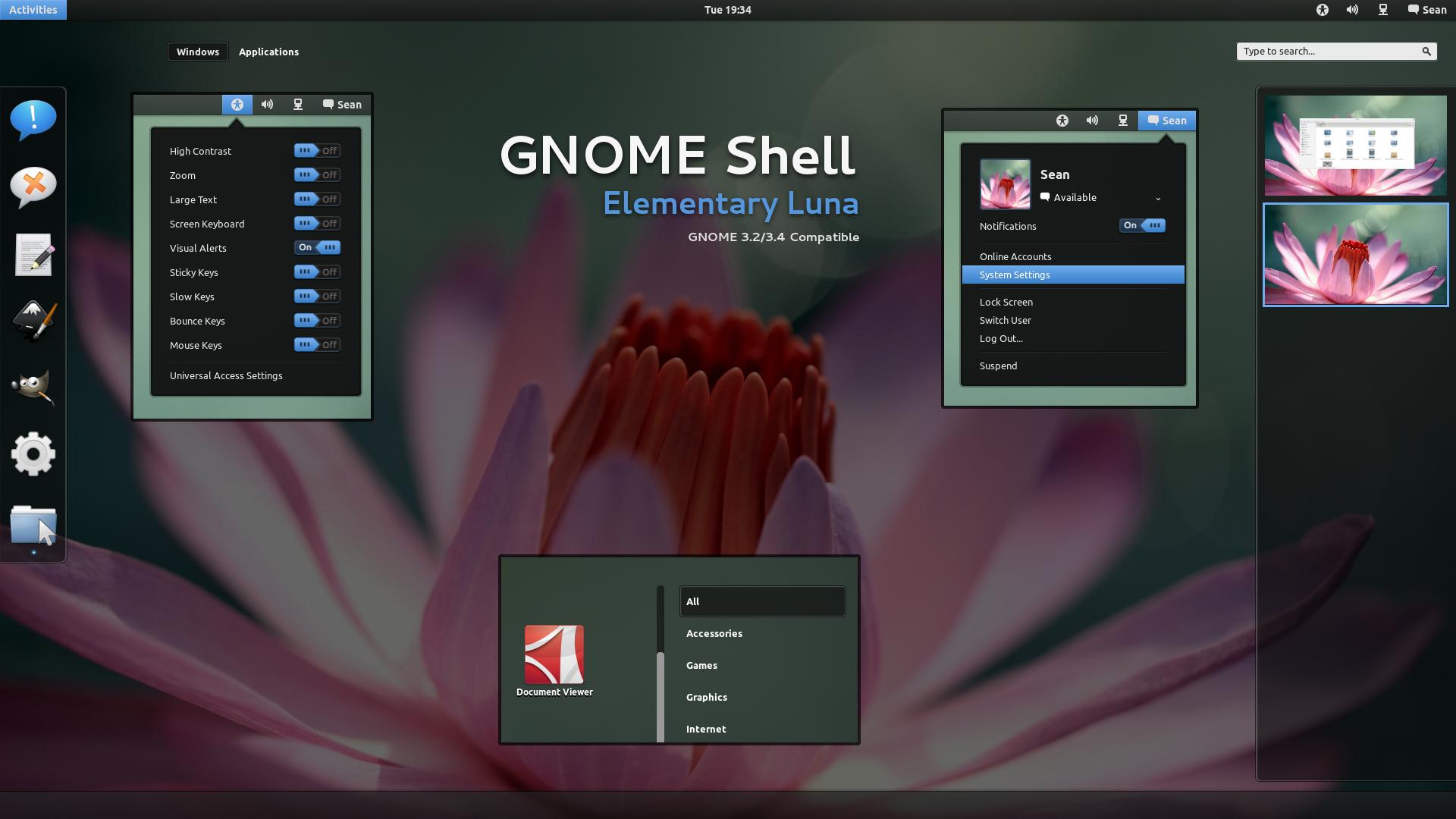 GNOME Shell - Elementary Luna