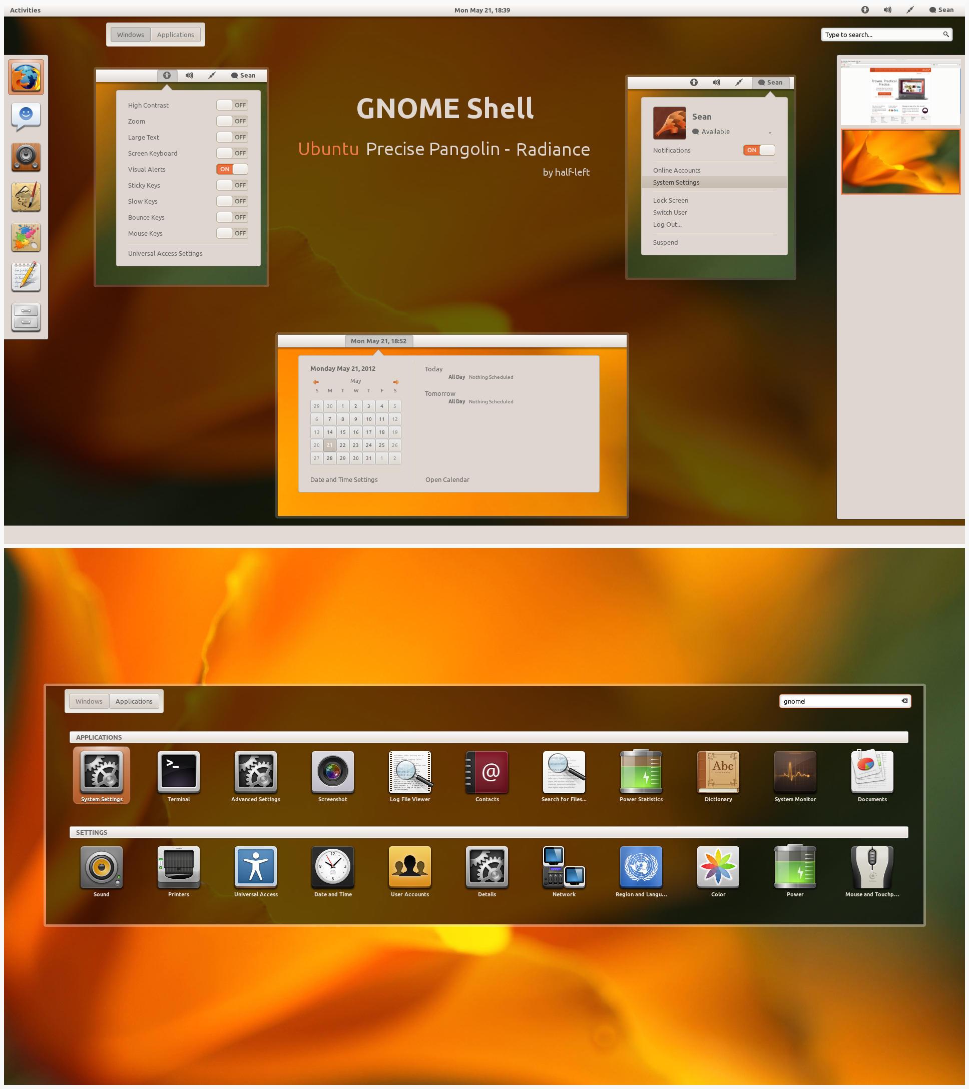 GNOME-Shell - Ubuntu Precise Pangolin - Radiance by half-left