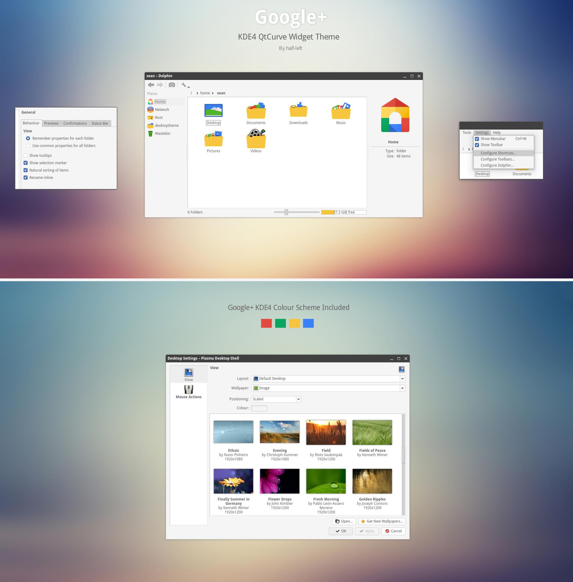 KDE4 - QtCurve Google+ by half-left