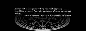 Alchemy's First law of equivalent exchange