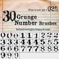 Free Brush Set 25: Grunge Numbers by tau-kast