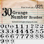 Free Brush Set 25: Grunge Numbers