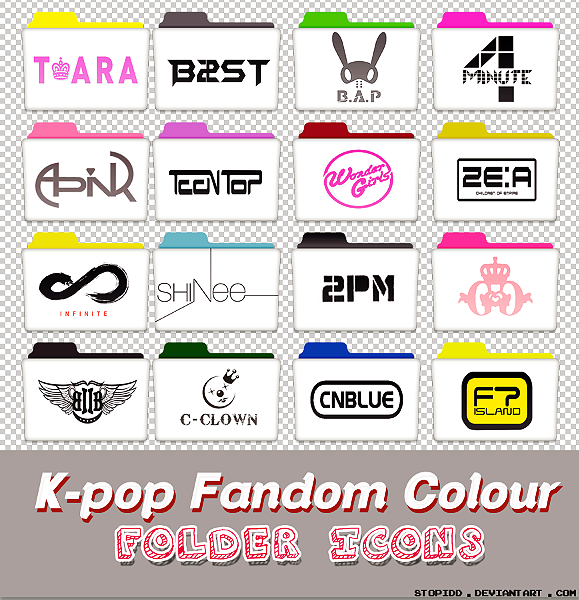 k-pop fandom colour folder icons by stopidd