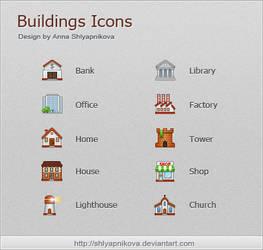 Buildings Icons by shlyapnikova