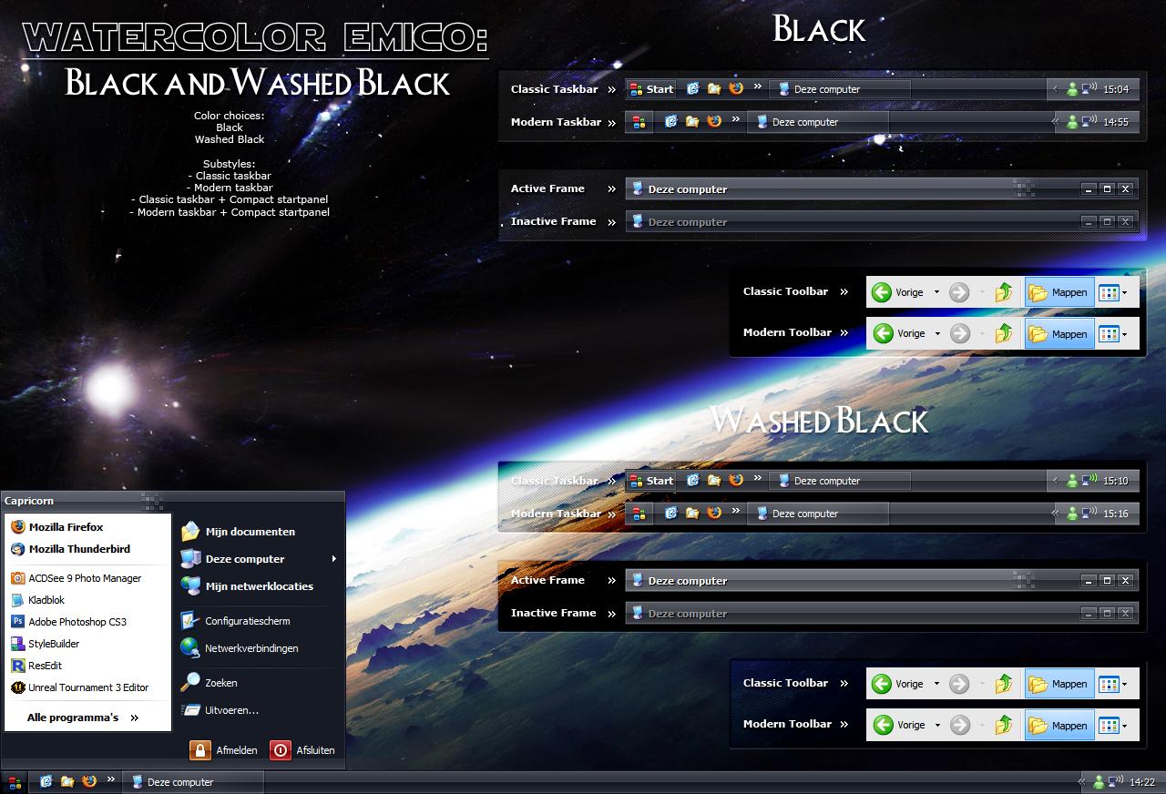 Watercolor Emico: Black