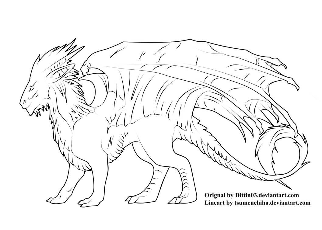 Dragon Lineart PSD by tsumeuchiha