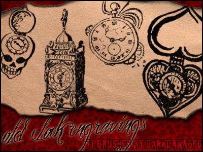 Old clock engravings brushes by darkdana666