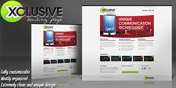 *FREE Xclusive Landing Page Psd Template by squizmo