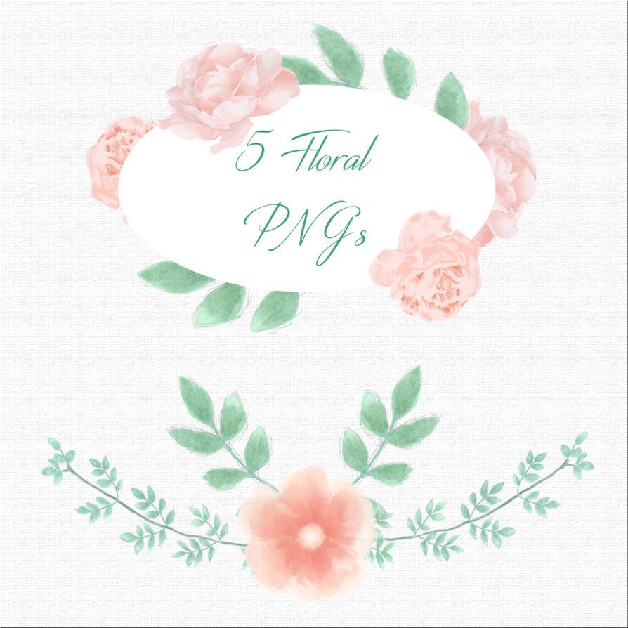 Floral Watercolor Pngs by Brand-NewEyes