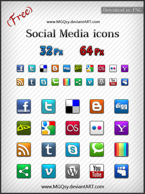 Free Social Media icons by MGQsy