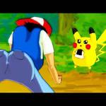 Ash twerking as pikachu watches
