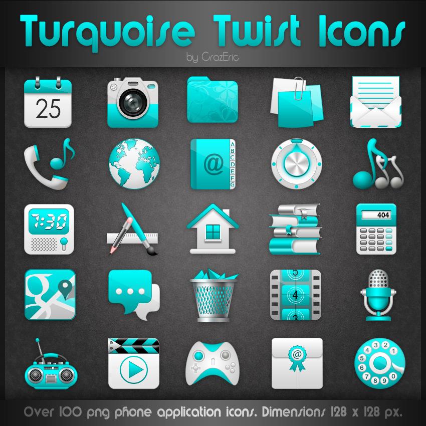 Turquoise Twist Icons by CrazEriC