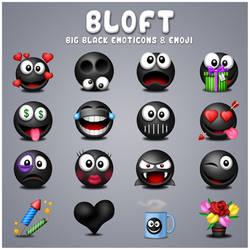 Free Bloft Big Black Emoticons - Emoji