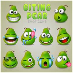 Biting Pear Emoticons