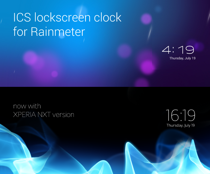 ICS Lockscreen Clock for Rainmeter
