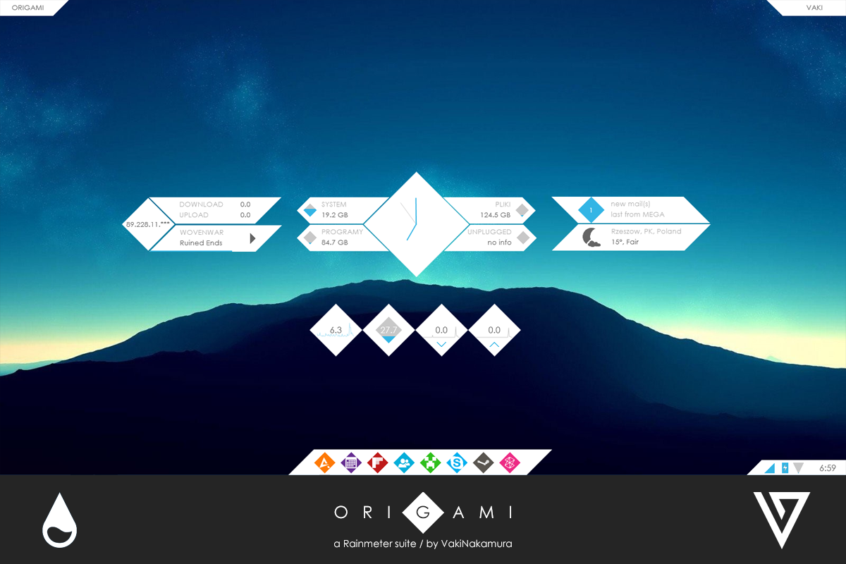 Origami for rainmeter 1 0 by vakinakamura on deviantart for Deviantart rainmeter