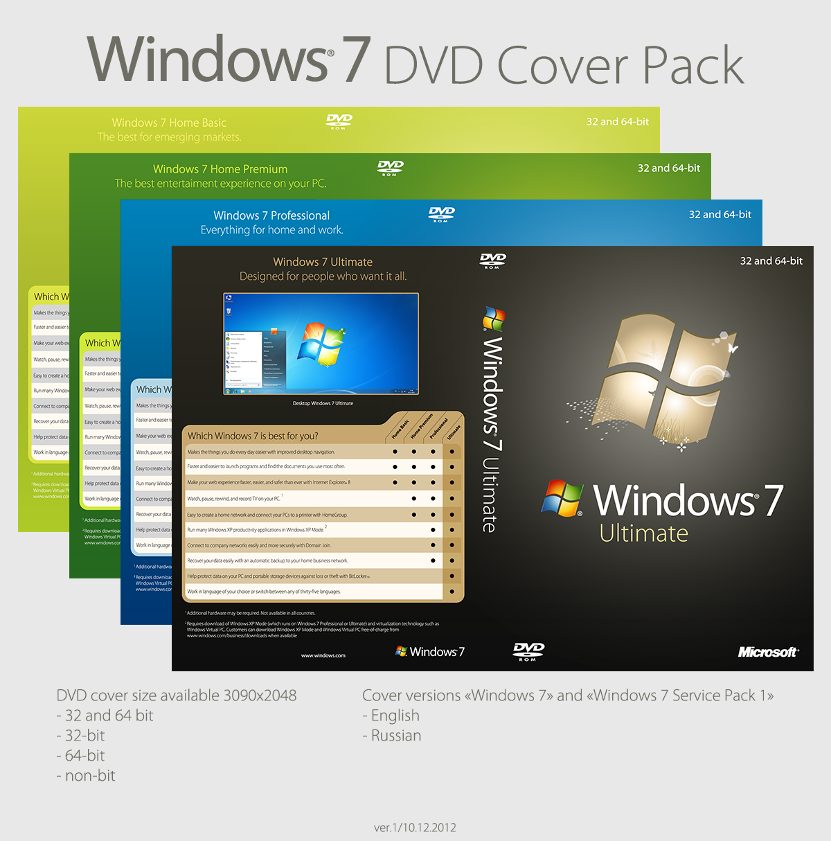 Windows 7 Professional With Service Pack 1 32/64-bit (russian)