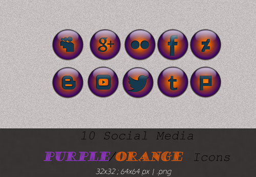 #Social Media Icons - Purple/Orange (2 Sizes) by anaderzsi